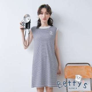 【betty's 貝蒂思】學院風條紋長版上衣(深藍)