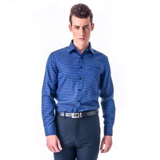 【金安德森】藍灰格紋厚暖窄版長袖襯衫