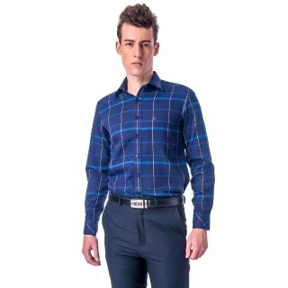【金安德森】藍黃大線格保暖窄版長袖襯衫