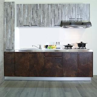 【日系時尚】【京濱工業】歐化廚具-不鏽鋼檯面塑合板門(210+30公分)