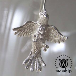 【Marship】日本銀飾品牌 鸚鵡耳環 展翅飛翔款 925純銀 亮銀款 針式耳環(耳環)