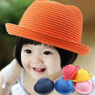【PS Mall】百搭可愛耳朵兒童草帽遮陽帽(B001)