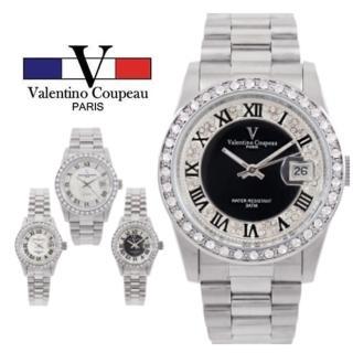 【Valentino Coupeau】范倫鐵諾 古柏 奢華雙圈晶鑽羅馬數字不鏽鋼防水男女款手錶(兩款各2色)