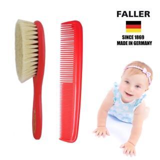 【FALLER 芙樂】山羊 溫和 寶寶 嬰兒用髮梳加齒梳(按摩加整理頭髮 紅色套裝)