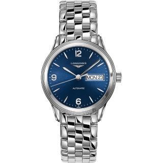 【LONGINES 浪琴】Flagship 旗艦系列日曆機械錶錶-藍x銀/36mm(L47994966)