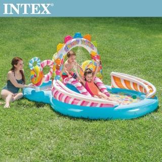 【INTEX】糖果屋戲水游泳池滑水道295x191x130cm_374L