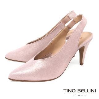 【TINO BELLINI 貝里尼】義大利進口V型深楦尖頭跟鞋A83009(粉)