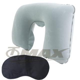 【OMAX】舒適植絨頸枕1入+高級眼罩1入(12H)
