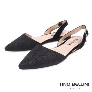 【TINO BELLINI 貝里尼】微光閃爍後拉帶尖頭平底鞋F83008(黑)