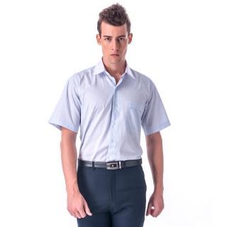 【金安德森】藍黃條紋白領短袖襯衫-fast