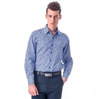 【金安德森】白底深淺藍格紋相間窄版長袖襯衫-fast