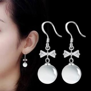 【梨花HaNA】韓國925銀針氣質微甜蝴蝶結貓眼石耳勾耳環