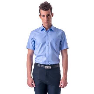 【金安德森】藍色基本款窄版短袖襯衫-fast