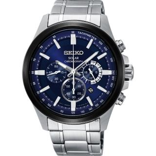 【SEIKO 精工】Criteria 玩酷太陽能計時碼錶-藍x銀/42mm(V175-0ER0B  SSC681P1)