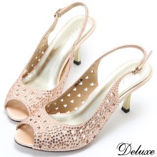 【Deluxe】時尚水鑽心型鏤空性感繫帶魚口涼跟鞋(金)