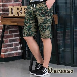 【Dreamming】數位迷彩鬆緊抽繩休閒工作短褲(軍綠)