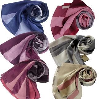 【BURBERRY 巴寶莉】格紋絲綢緞面圍巾(6色)
