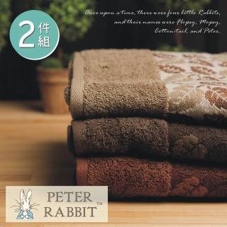 【PETER RABBIT 比得兔】比得兔 提緞精繡浴巾2件組(高質感精品)