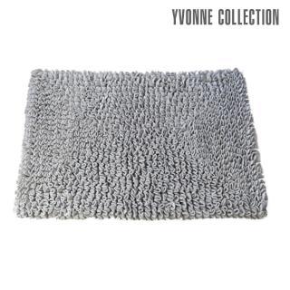 【Yvonne Collection】法蘭絨素色長方地墊50x70cm(暗灰)