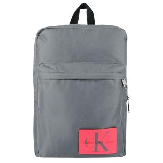 【Calvin Klein】CK Jeans經典LOGO運動休閒帆布後背包(灰色)