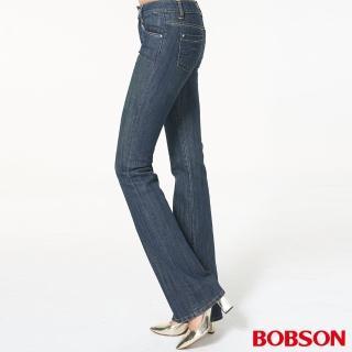 【BOBSON】女款銀蔥刺繡伸縮中喇叭褲(9037-53)