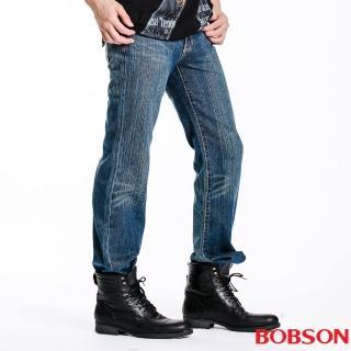 【BOBSON】男款配迷彩布中直筒褲(1708-53)