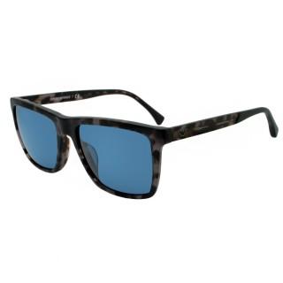 【EMPORIO ARMANI】個性方框太陽眼鏡-透琥珀藍鏡面(#EA4117F-570380)