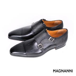 【MAGNANNI】時尚混搭皮革孟克鞋/紳士鞋(灰黑 20499-GRY)