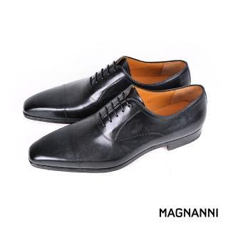 【MAGNANNI】時尚復古刷色橫飾牛津紳士鞋(黑灰 20524-GRY)