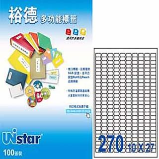 【Unistar 裕德】3合1電腦標籤 US4343(270格 100張/盒)