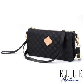 【ELLE active】波卡圓點系列-輕薄多夾層側背包/斜背包/手拿包-黑色