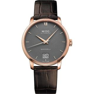 【MIDO 美度】BARONCELLI 永恆系列 III 大日期機械錶-灰x咖啡皮帶/40mm(M0274263608800)