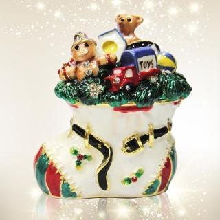 【三卡寶】歡樂聖誕節-聖誕襪禮物包晶鑽(珠寶盒)