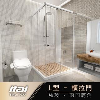 【ITAI 一太】角落式《L型落地型淋浴門》寬90-120cm x 高190cm(皇冠5048L)