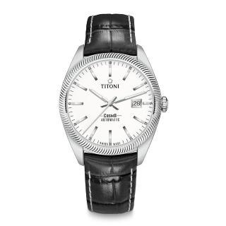 【TITONI 梅花錶】宇宙系列 878 S-ST-606 白錶盤/黑色皮帶/41mm(COSMO)