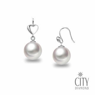 【City Diamond 引雅】日本AKOYA珍珠9K愛心垂耳耳環