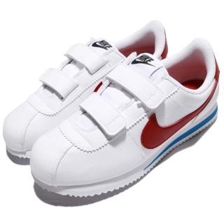 【NIKE 耐吉】Cortez Basic SL PSV 童鞋 阿甘鞋 休閒鞋 魔鬼氈 皮革 運動 白紅(904767-103)