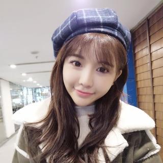 【梨花HaNA】韓國清甜優雅氣息格紋貝雷帽