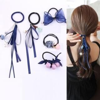 【Emi 艾迷】韓國浪漫花漾蕾絲緞帶珍珠髮圈華麗5件套組