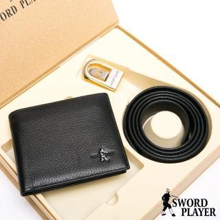 【SWORD PLAYER】莎普爾簍空金邊款真皮皮帶+10卡1照皮夾禮盒組