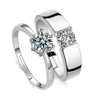 【I-SHINE】濃情蜜意-情侶男女晶鑽鑲崁可調節鍍銀戒指男女對戒(單戒)