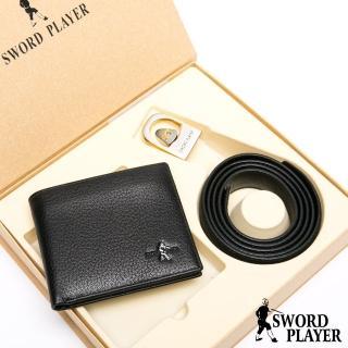 【SWORD PLAYER】莎普爾爵士款真皮皮帶+10卡1照皮夾禮盒組