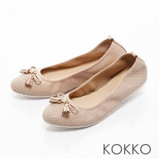 【KOKKO集團】復古雅緻蝴蝶結真皮休閒平底鞋(杏膚)