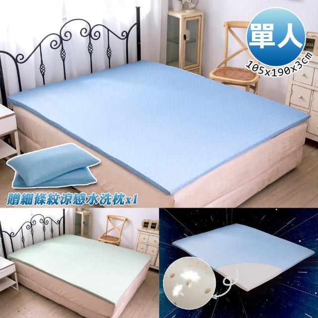 【格藍傢飾】100%頂級天然乳膠防蹣涼感單人床墊&細條紋涼感水洗枕(夏晶藍/夏晶綠)/