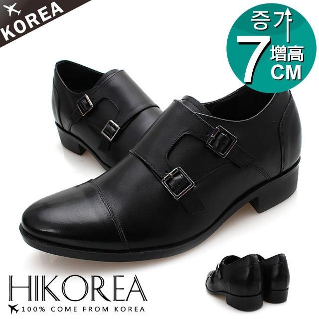 【HIKOREA】正韓製/版型正常。都會紳士手工真皮釦帶設計增高7cm方跟皮鞋(8-9045/現貨)/