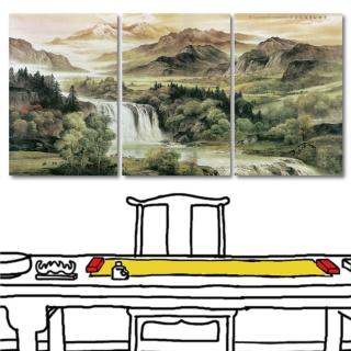 【24mama 掛畫】三聯式 中國風 山水畫 客廳裝飾 無框畫-40x60cm(雲天高誼)