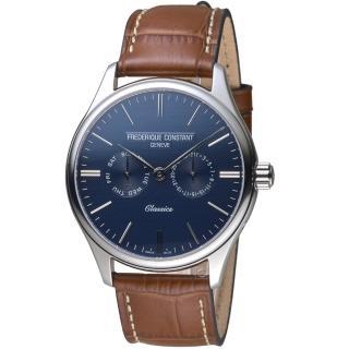 【CONSTANT 康斯登】經典日期紳士腕錶(FC-259NT5B6 藍)