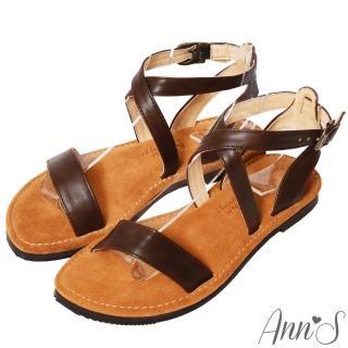【Ann'S】水洗牛皮-復古氣息交叉寬版平底涼鞋(咖)