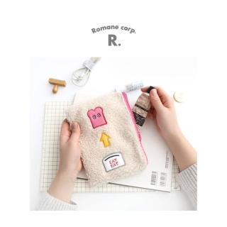 【Romane】Brunch Brother 毛絨方形收納包 - 米白(化妝包/零錢包/萬用包)