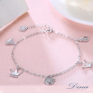 【DINA 蒂娜珠寶】童趣小皇冠 CZ鑽純銀手鍊(LKN71605)